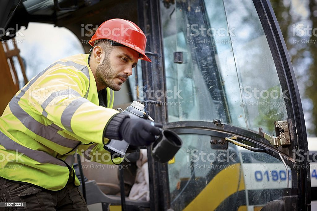 Construction worker at  work royalty-free stock photo