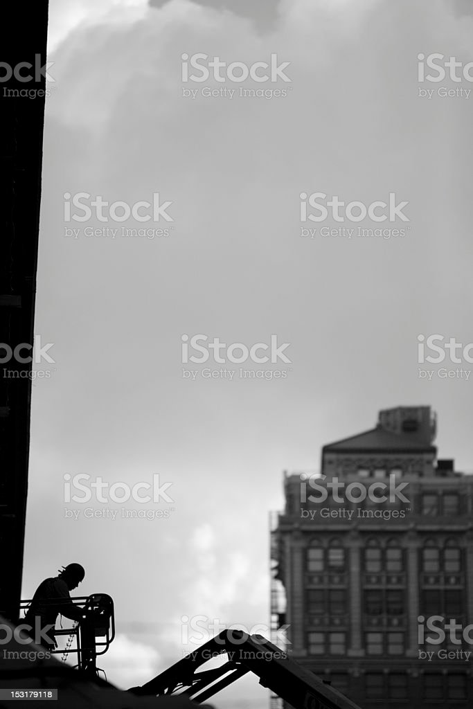 Construction Worker Black and white stock photo