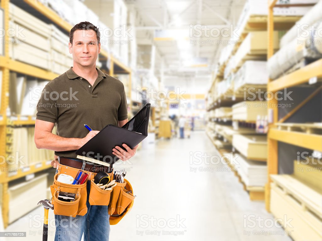Construction Worker Contractor in Home Improvement Store stock photo