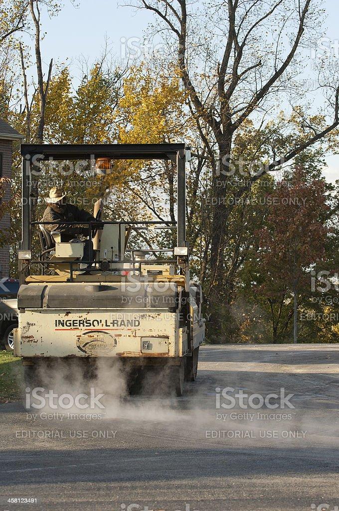 \'Frederick, MD, USA - November 6, 2007: Bearded steam roller operator...