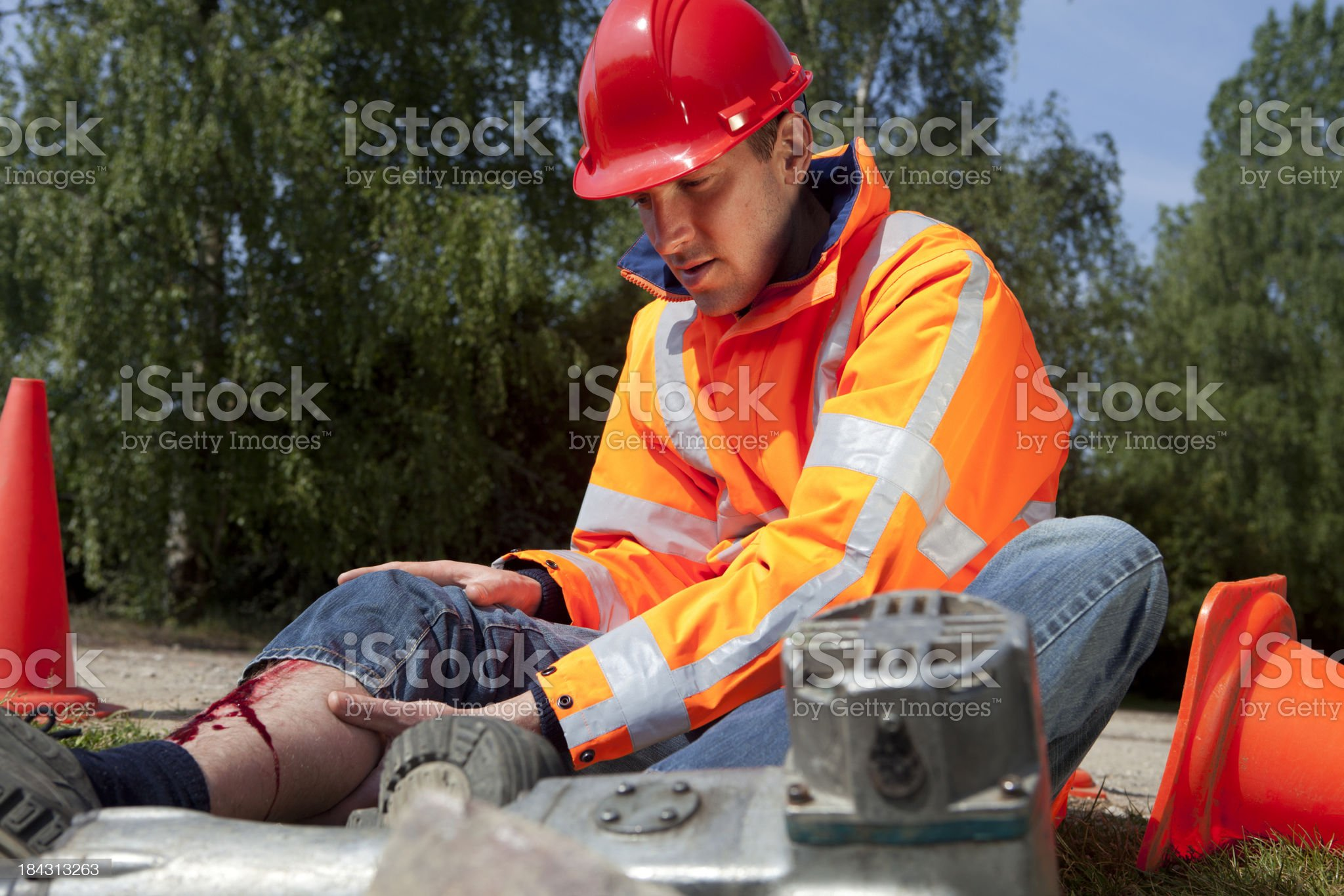 Construction worker falling on the job. Accidents can happen. royalty-free stock photo