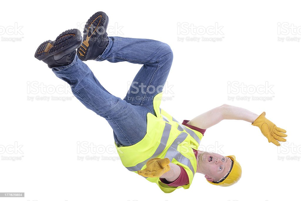Construction worker falling stock photo