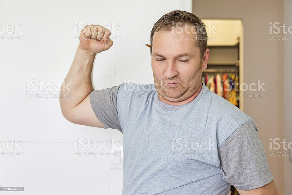 Construction worker fist pump royalty-free stock photo