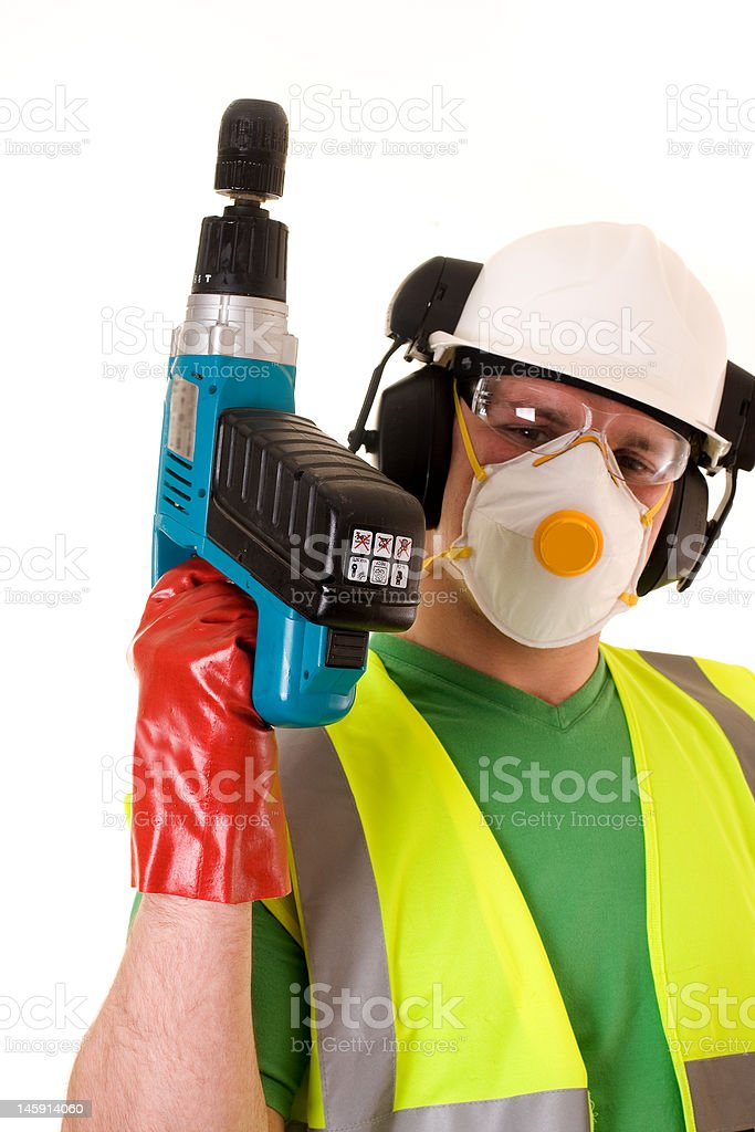 construction worker. Focus on drill royalty-free stock photo