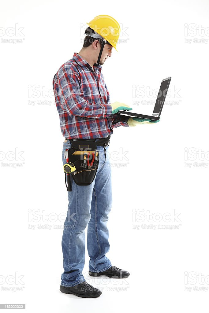 Construction Worker Friendly & Laptop stock photo
