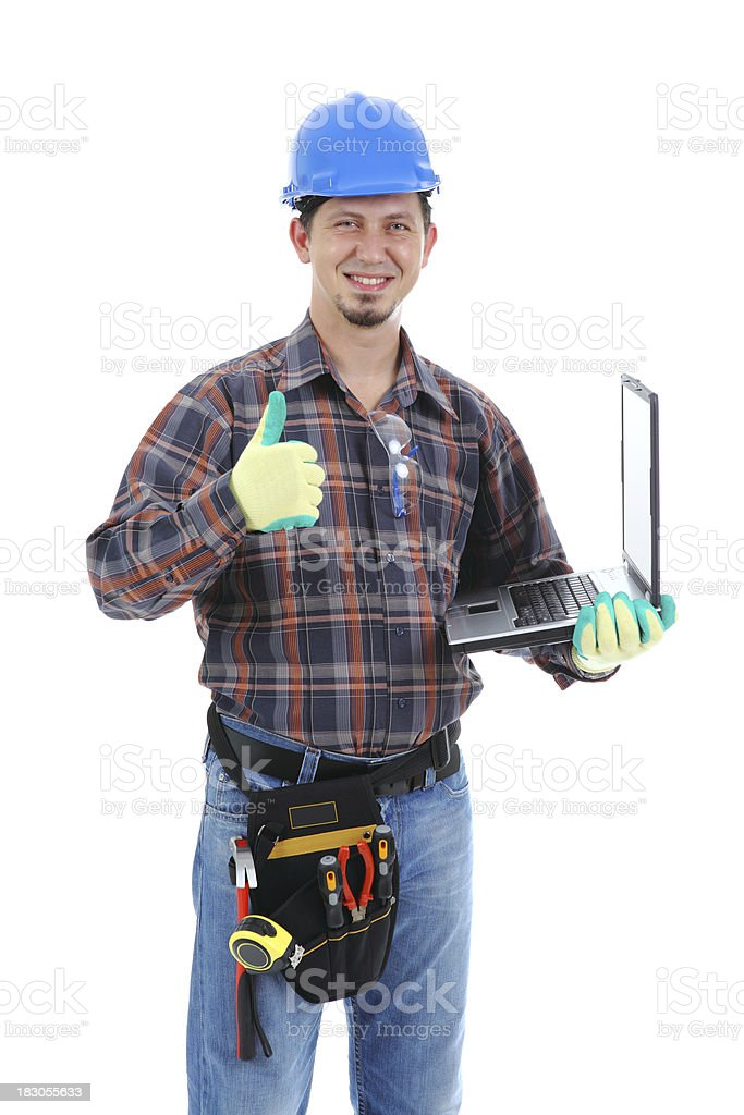 Construction Worker Friendly & Laptop royalty-free stock photo