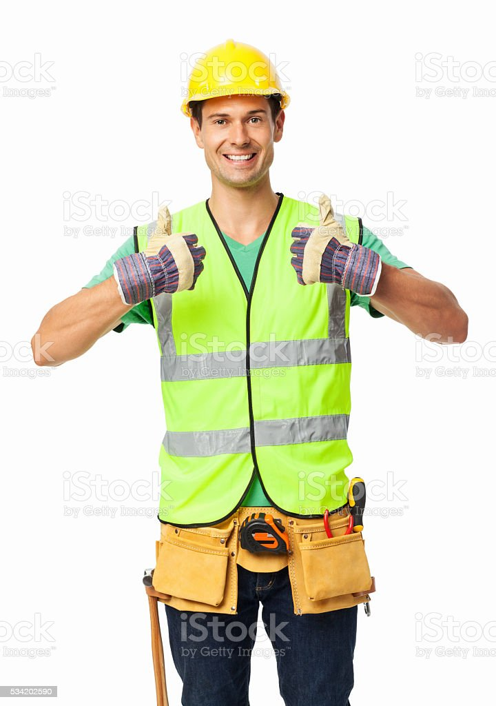 Construction Worker Gesturing Thumbs Up stock photo
