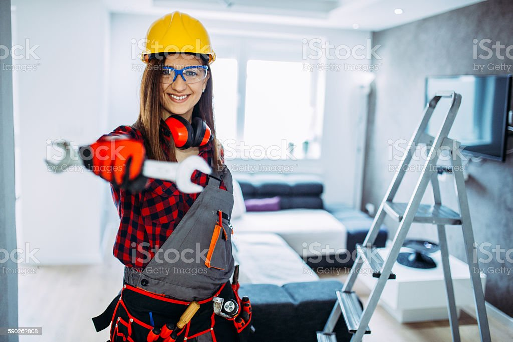 Construction Worker Girl stock photo