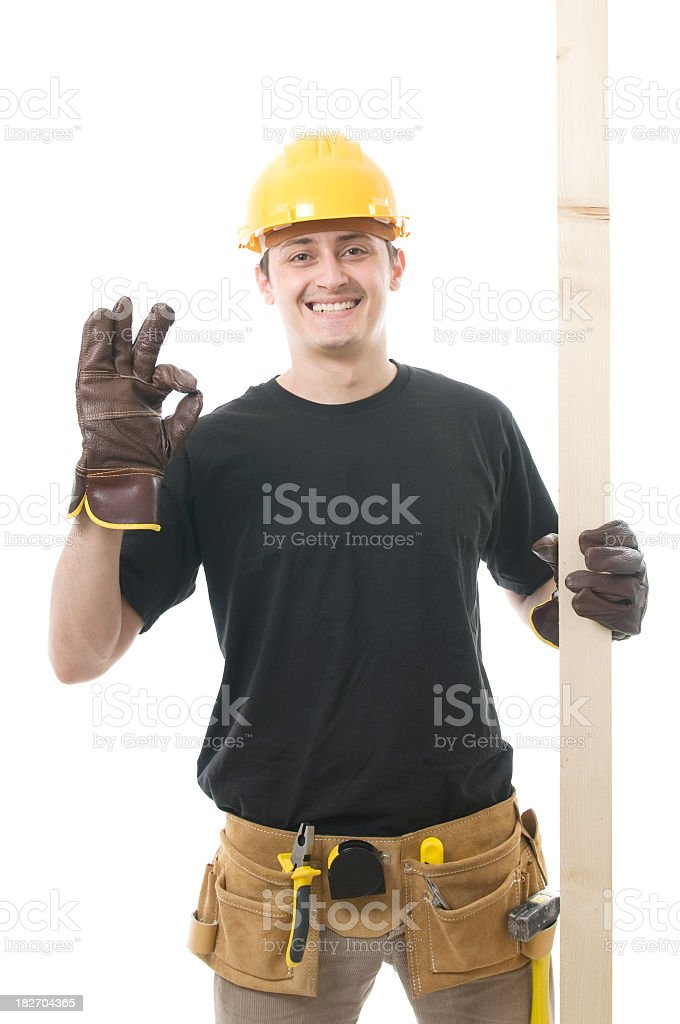 Construction worker giving ok sign royalty-free stock photo