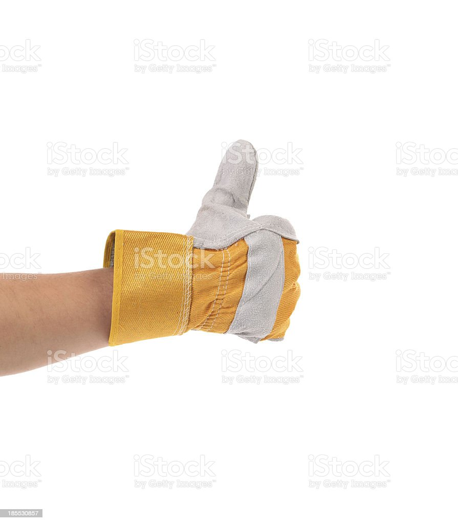 Construction worker glove thumbs up stock photo