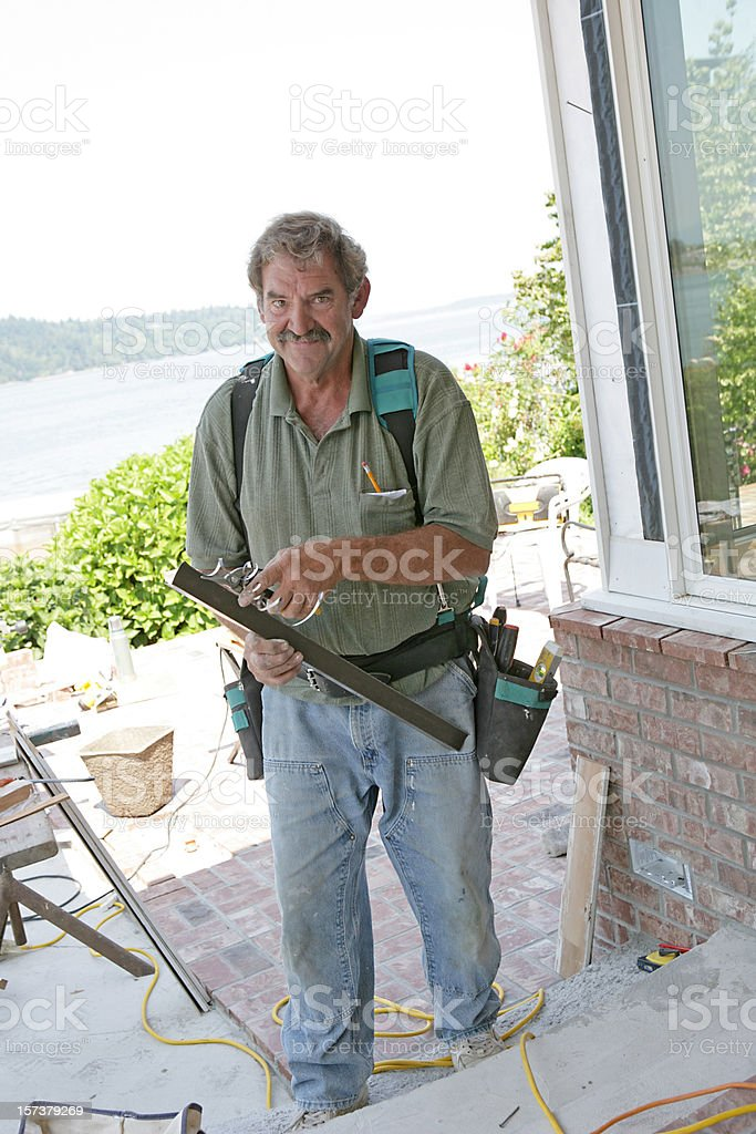 Construction Worker Grinning royalty-free stock photo