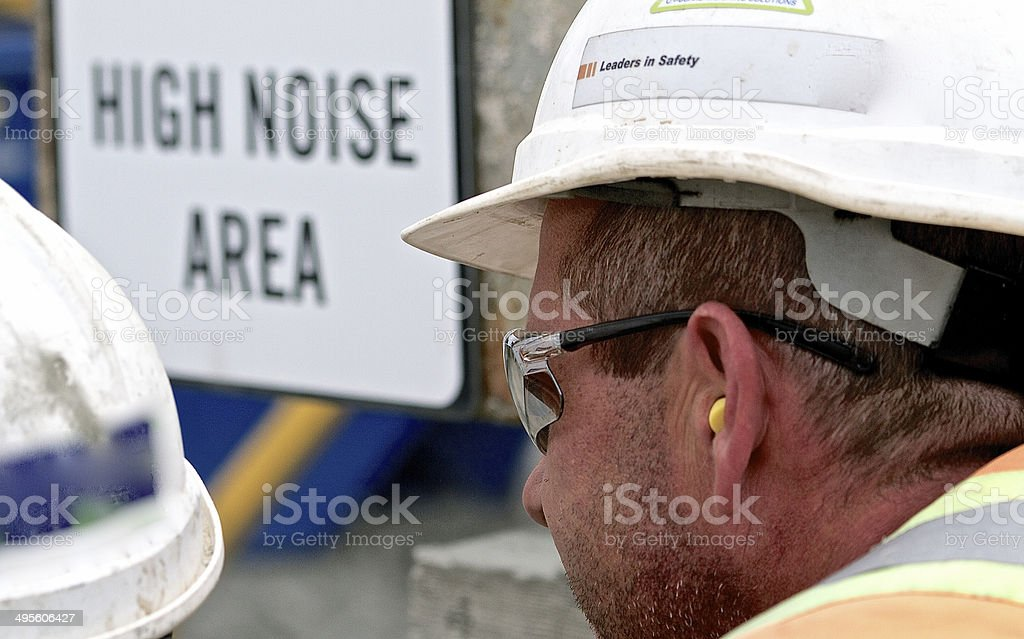 Construction Worker Hearing Protection stock photo