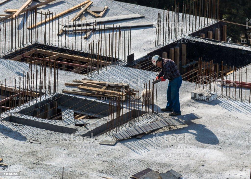 Istanbul, Turkey - November 12, 2016: Construction worker in a helmet stock photo