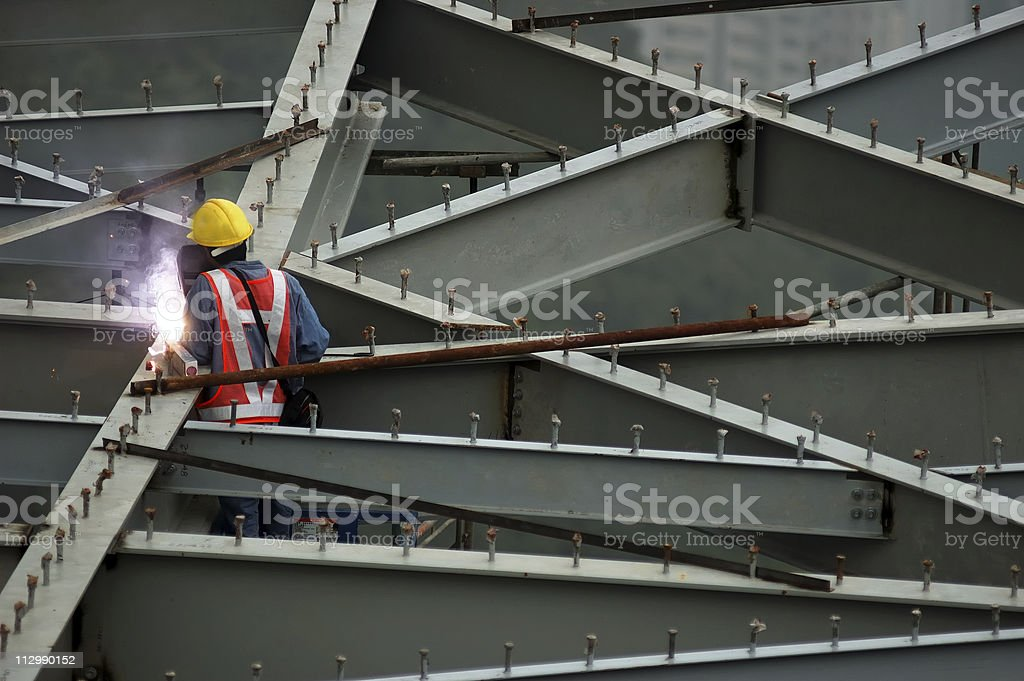 Construction worker in Hong Kong stock photo