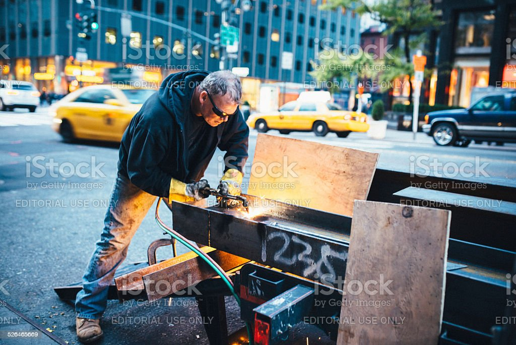 Construction worker in New York stock photo