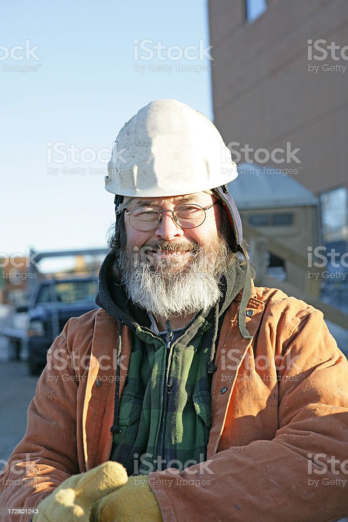 Construction Worker in Winter royalty-free stock photo