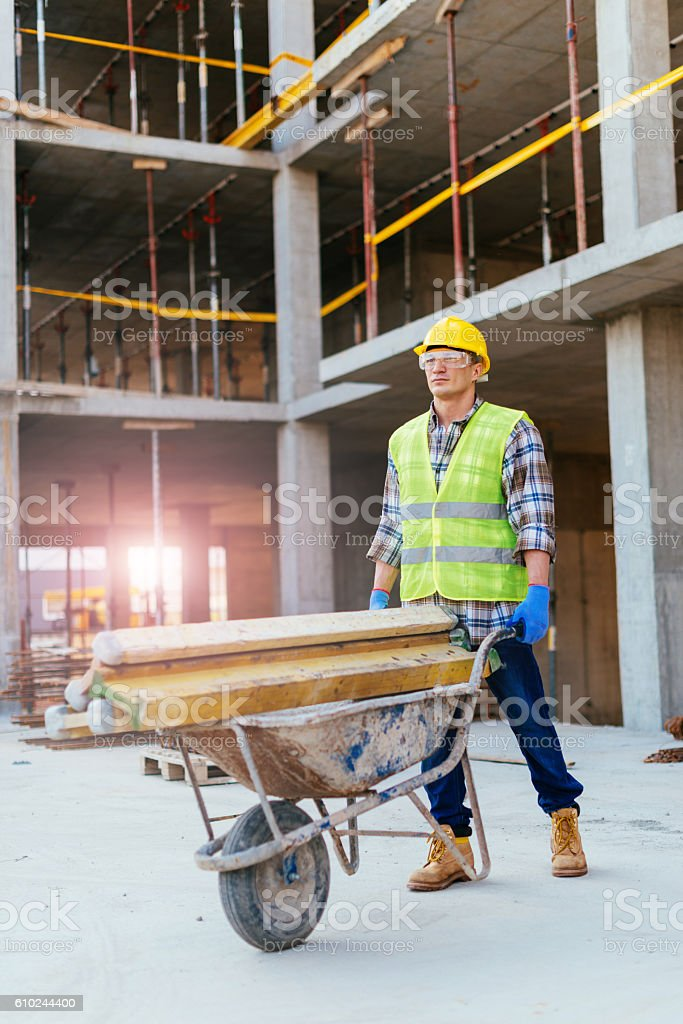 Construction worker is a part of engineering team stock photo