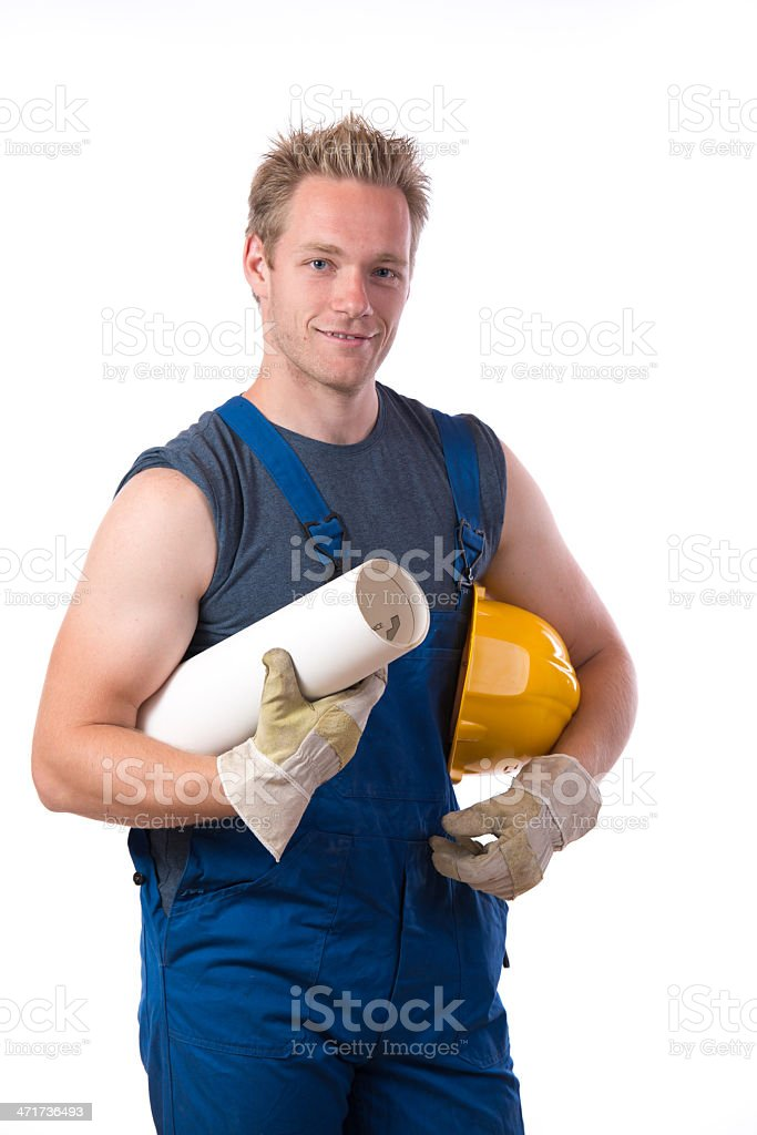 Construction worker isolated on white royalty-free stock photo