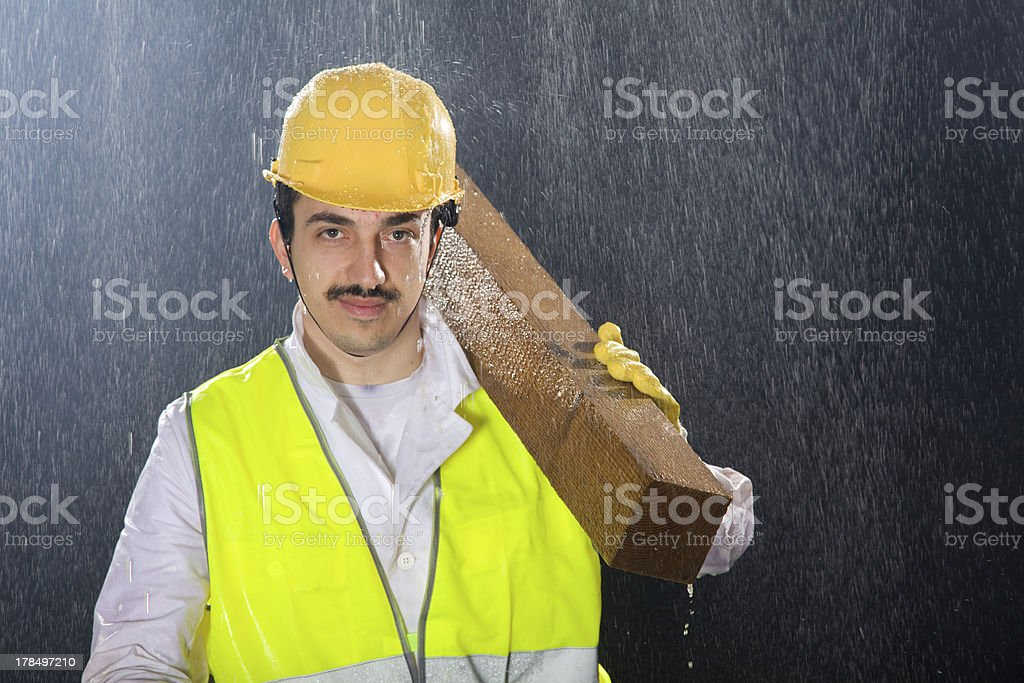 Construction worker looking at camera royalty-free stock photo