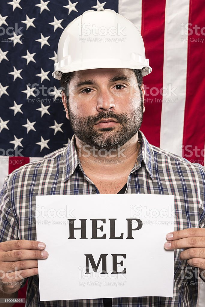 Construction worker looking for help stock photo