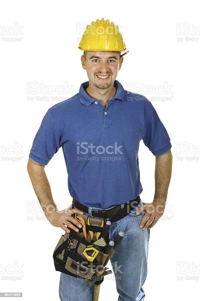 Construction worker looking friendly royalty-free stock photo