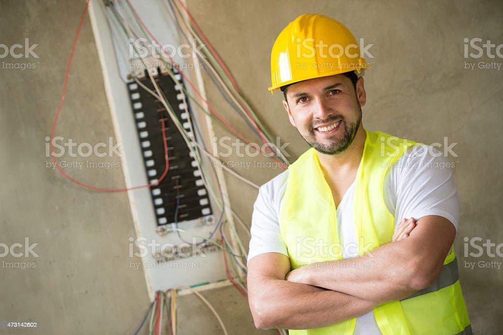 Construction worker looking happy stock photo