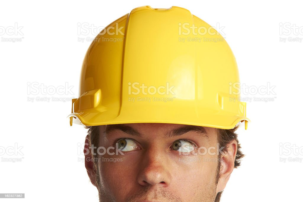 construction worker looking worried royalty-free stock photo