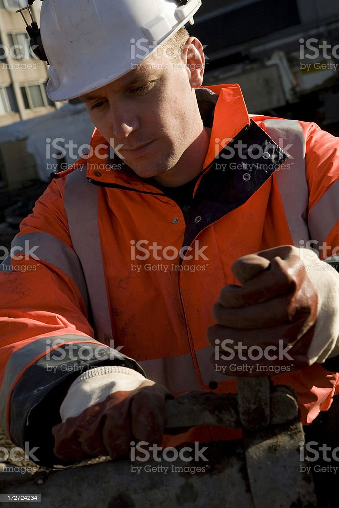 Construction worker on a building pit royalty-free stock photo