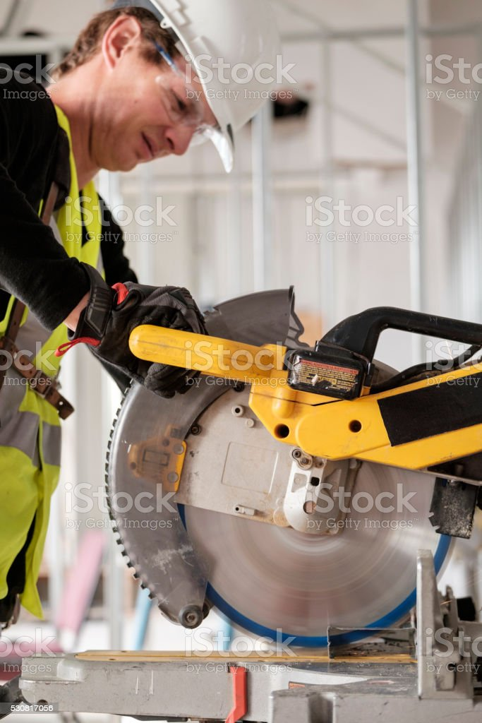 Construction Worker on a Job Site stock photo