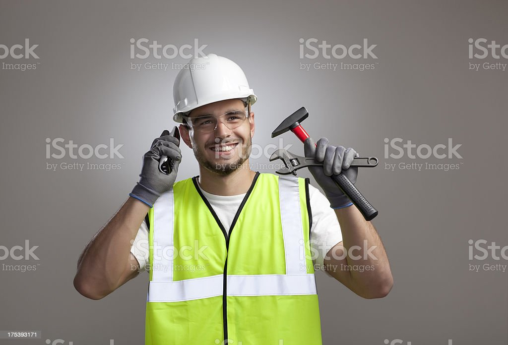 Construction worker on call. royalty-free stock photo
