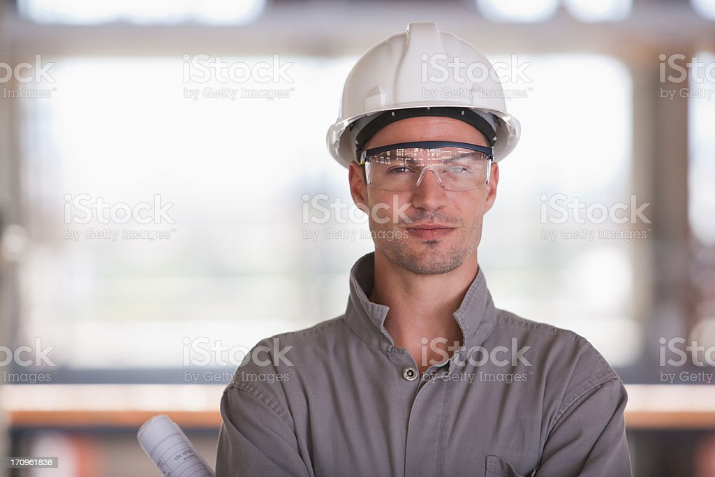 Construction worker on construction site royalty-free stock photo
