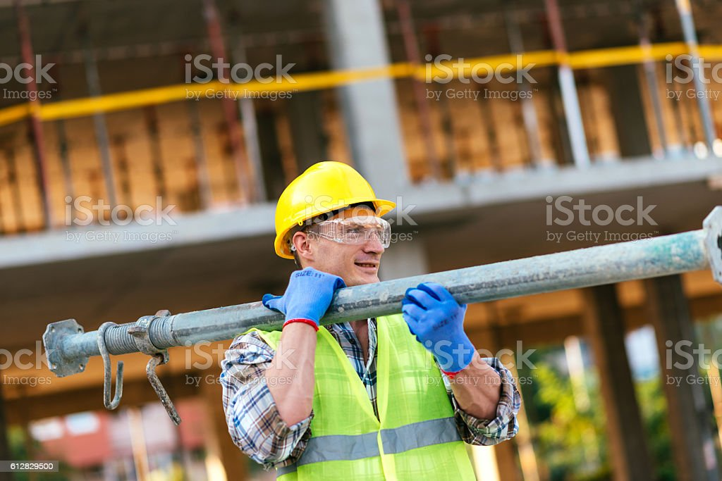Construction worker on construction site stock photo