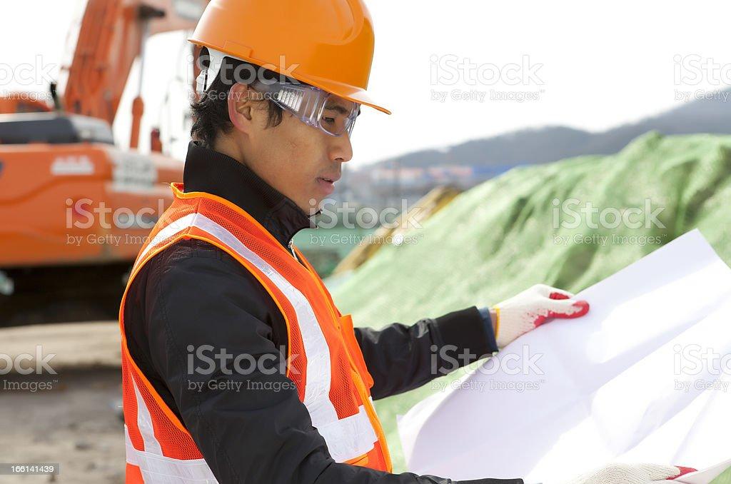 Bauarbeiter auf Lage-Website Lizenzfreies stock-foto