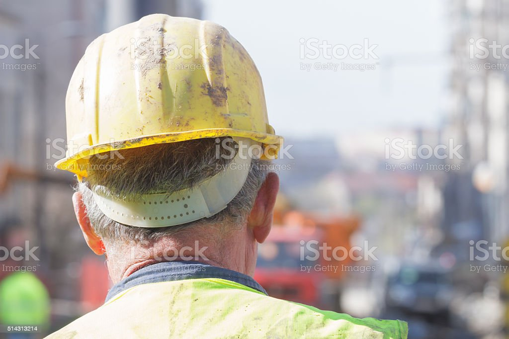 Construction worker on site. stock photo