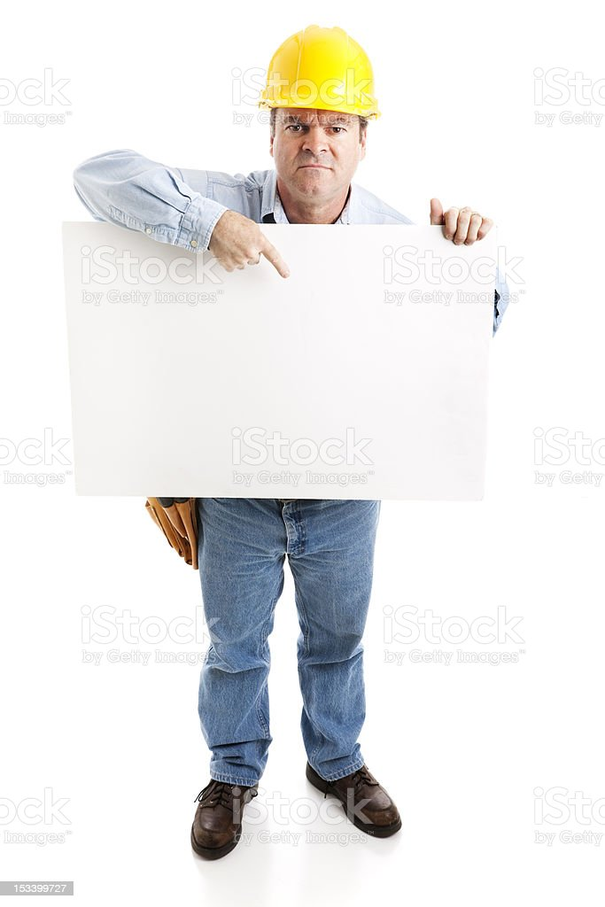 Construction Worker - On Strike royalty-free stock photo