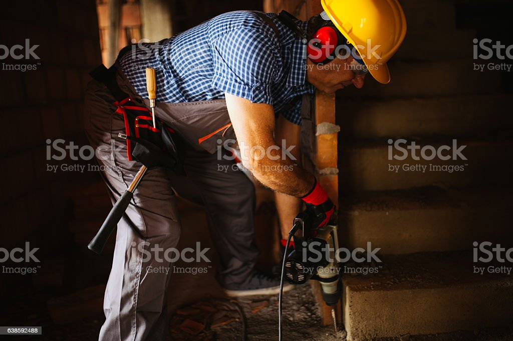 Construction worker on the site stock photo