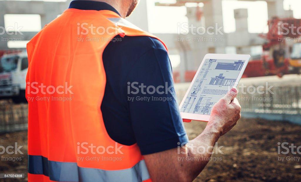 Construction Worker Planning Contractor Developer Concept stock photo
