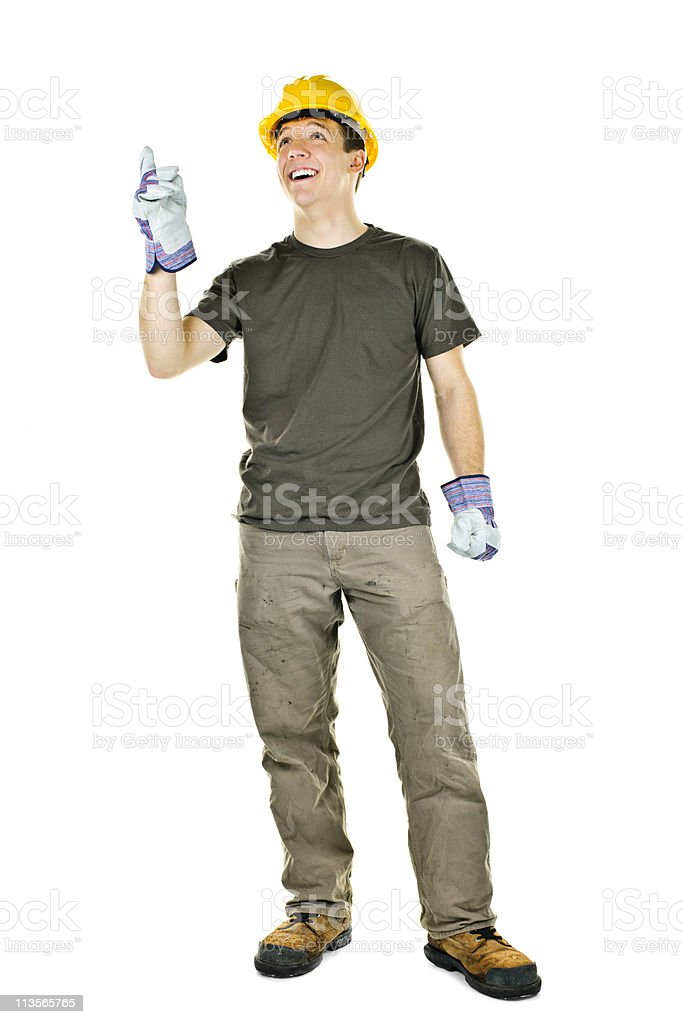 Construction worker pointing up stock photo