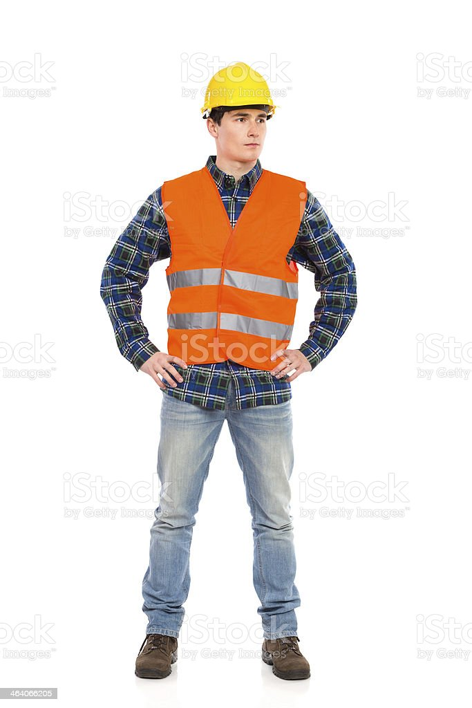 Construction worker posing. stock photo