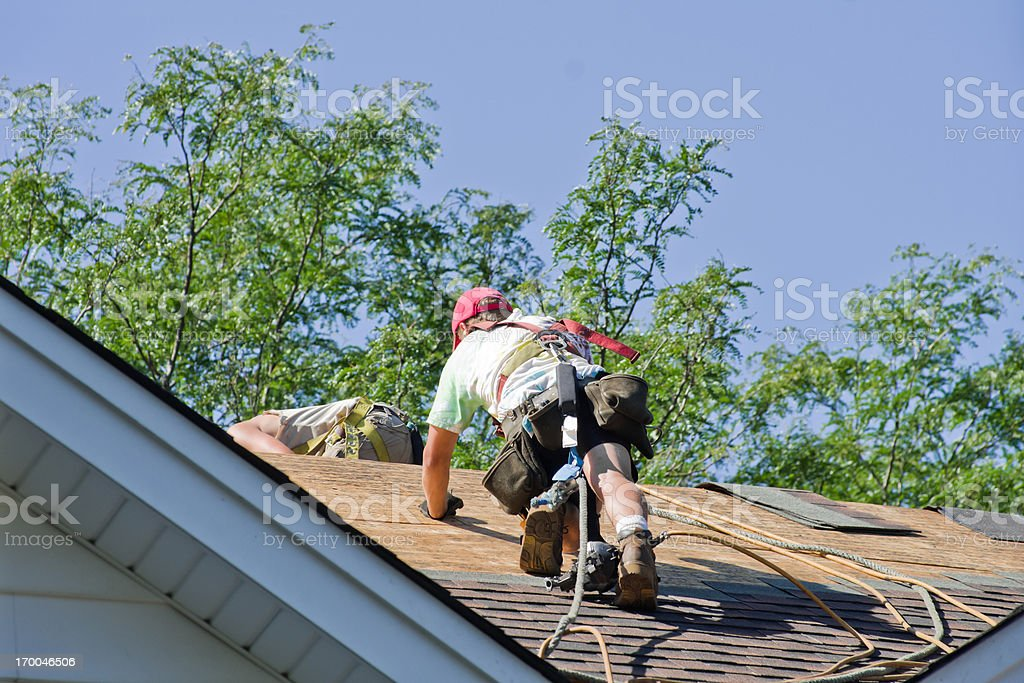 Construction Worker Roofing stock photo