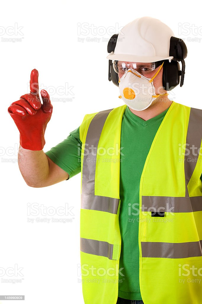 construction worker shows - safety at first stock photo