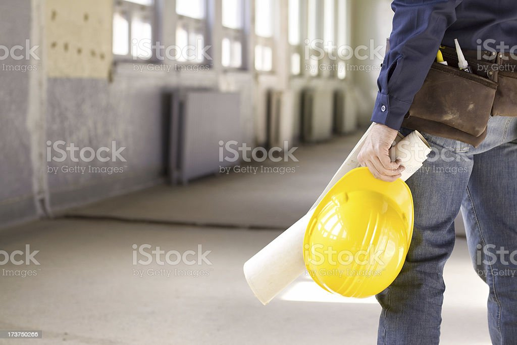 Construction worker taking a break royalty-free stock photo