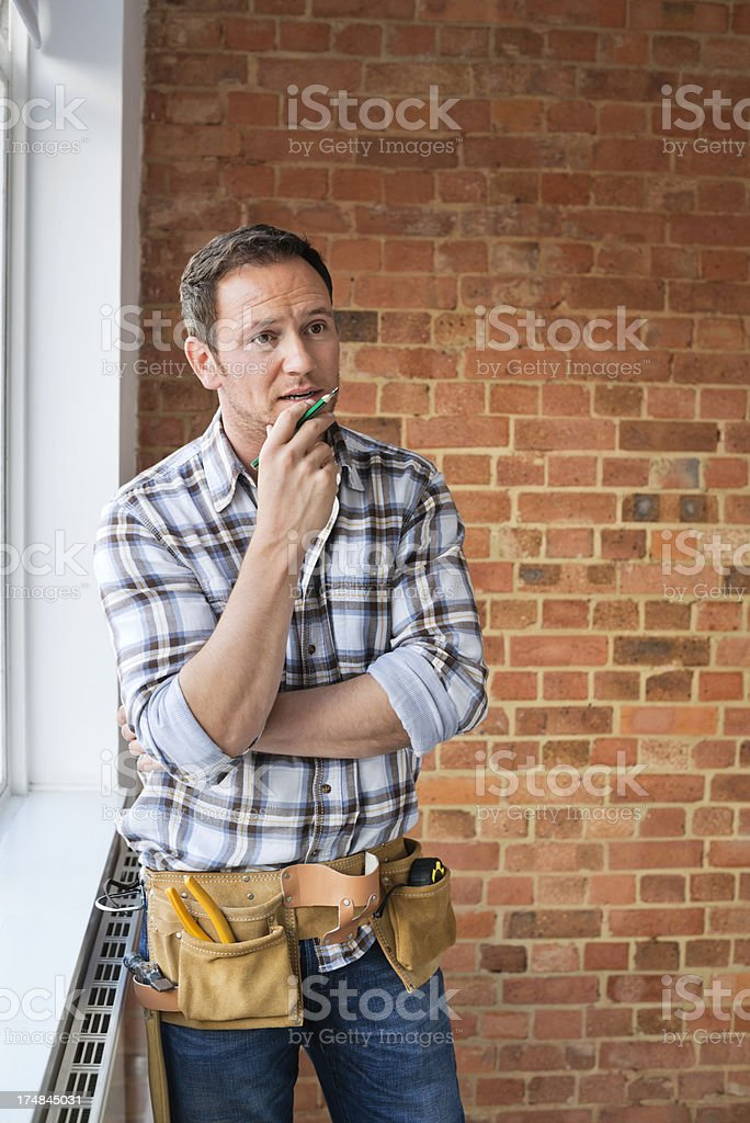 Construction Worker Talking royalty-free stock photo