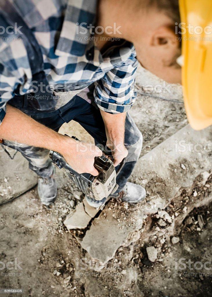 Construction Worker Using Jackhammer stock photo