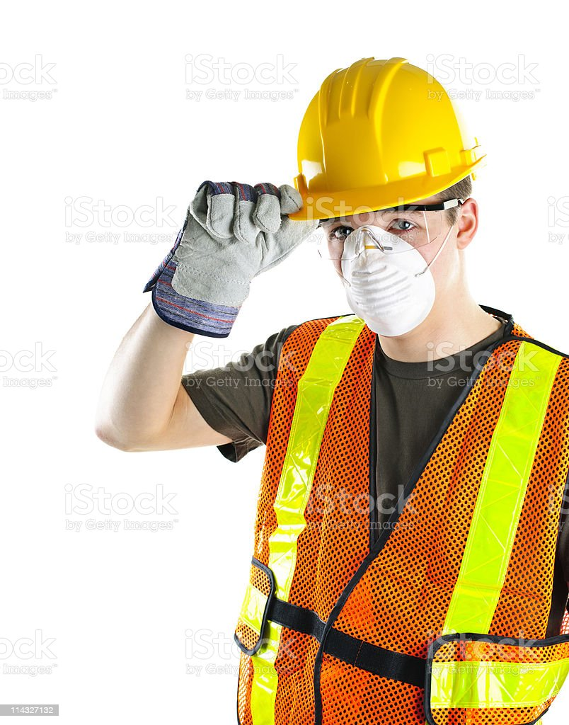 Construction worker wearing safety equipment royalty-free stock photo