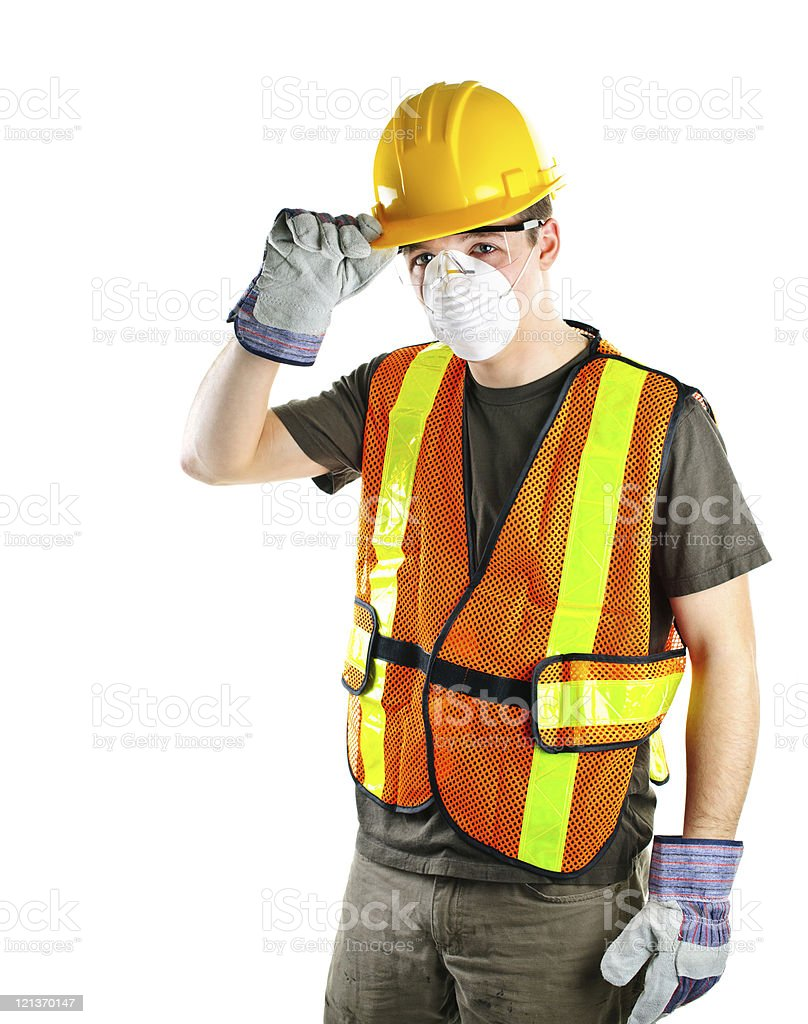 Construction worker wearing safety equipment stock photo