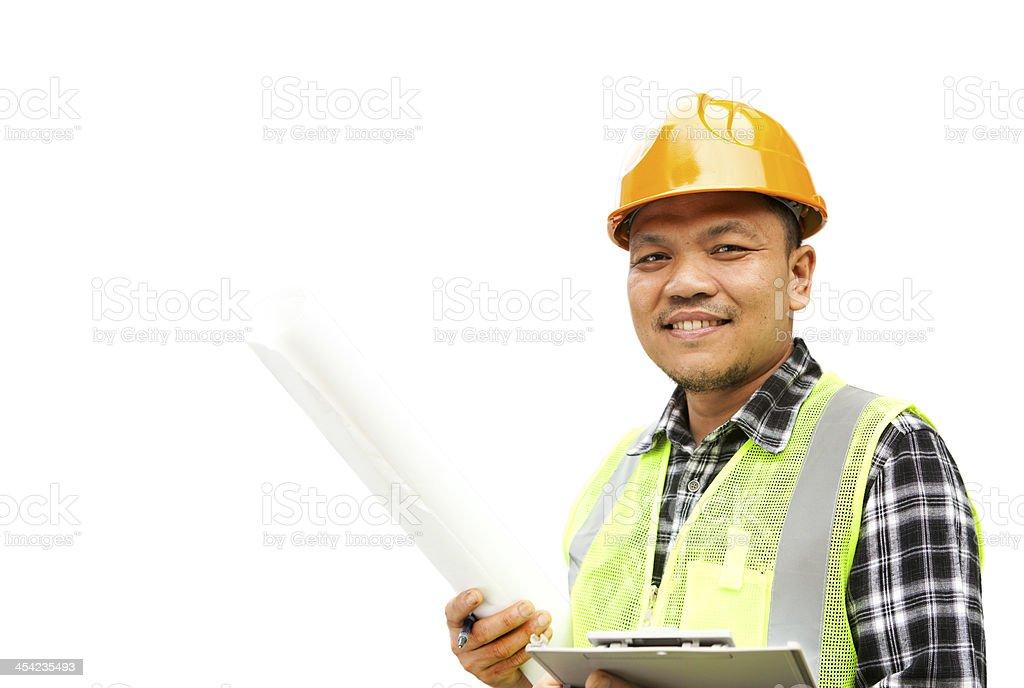 Bauarbeiter mit Sicherheit Weste, isoliert auf weiss Lizenzfreies stock-foto