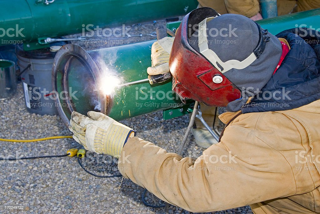 Construction worker welding royalty-free stock photo