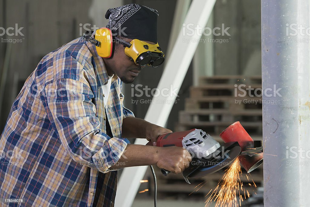 Construction worker welding steel. royalty-free stock photo