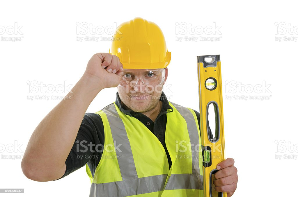 Construction Worker. White background royalty-free stock photo